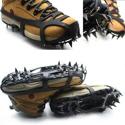 18 Teeth Ice Snow Non Slip Spikes Grips Grippers Crampon Cleats For Shoes Boots $16.63