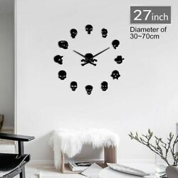 Skull Head Shape Frameless Wall Clocks Self Adhesive Mirror Antique Styles Watch $30.39