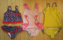 Lot of 3 Swimsuits Girls Size 4T Flamingo Yellow Polka Dot Lands End $6.00