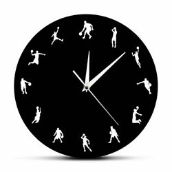 Basketball Player Design Antique Styles Abstract Pattern Circle Shape Wall Clock $36.09