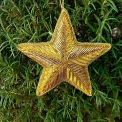 4quot; Glittery Gold Star Christmas Tree Ornament Hand Embroidered Texas Star Texmas $9.99