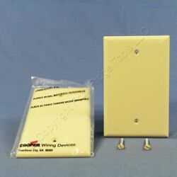 2 Cooper Commercial Ivory Unbreakable Mid Size 1G Blank Wallplate Covers PJ13V