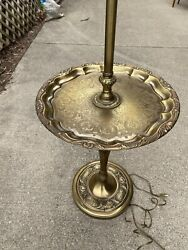 Amazing Vintage Floor Lamp Ruffled Etched Lacquered Brass Tray Table Fruit Base $295.00
