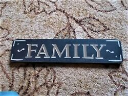 Wood quot;FAMILYquot; Hanging Wall Sign Plaque Art Blue White Stars 18quot; Rustic Decor $15.99