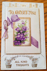 Old Novelty Birthday Postcard Lovely Violets on Cover of Attached Booklet B513 $2.50