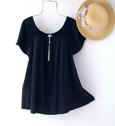 New $68 Solid Black Peasant Blouse Shirt Textured Stretch Boho Plus Size Top 3X $36.95