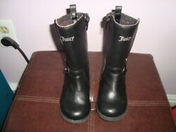 REDUCED EUC Black Girls Toddler JUICY COUTURE Leather Like Boots Shoes 6 US $14.00