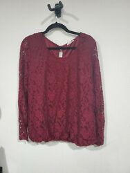Burgundy Floral Lace Long Sleeve Maurices 3x Top $11.00
