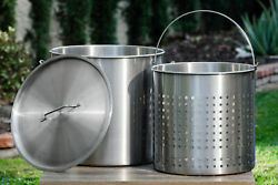 104QT Large Outdoor Stainless Steel Seafood Stock Pot w Basket Crawfish Boil Pot $169.95