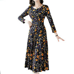 Women Floral Printed A Line Dress Casual Long Sleeve Loose Swing Party Dresses $18.61