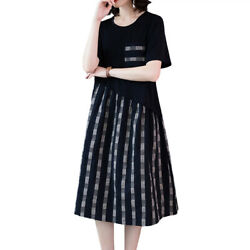 Womens Midi Swing Dress Ladies Short Sleeve Checker Casual Lounge Party Dresses $15.29