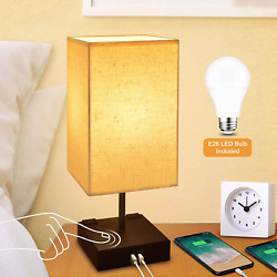 Dimmable 3 Way Touch Control Bedside Lamp Modern Table Lamp With USB Charging Po $37.67