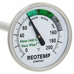 REOTEMP Backyard Compost Thermometer 20quot; Stem with PDF Composting Guide 0 20 Fah $25.06