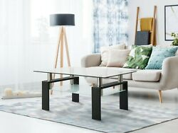 Modern Rectangle Clear Coffee Table Glass Shelf Living Room Side Center Tables $113.99