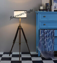 Floor Shade Lamp Designer Nautical Chrome Classical Brown Wooden Tripod Stand $82.00