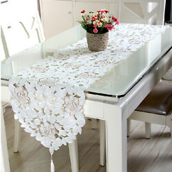 Embroidered Lace Tablecloth Floral Table Runner Doily Wedding Party Satin Decor $17.99