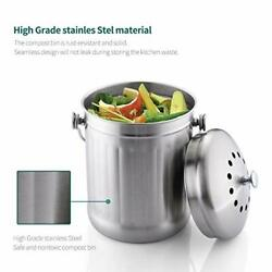 Stainless Steel 1.3 Gallon Kitchen Countertop Compost Bin Bucket Pail With Lid $31.71