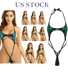 US Women Sexy One Piece Bikini Monokini Swimwear Swimsuit Shiny Micro Bodysuit $5.95