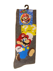 New SUPER MARIO Mens Novelty Crew Socks With MARIO Size 10 13 $5.99
