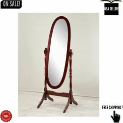 Antique Floor Mirror Wood Bedroom Full Length Cheval Free Standing Dressing Tilt $50.49