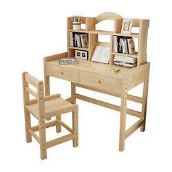 Wooden Student Desk And Chair Set With Drawers And Bookshelves Adjustable Height $119.99
