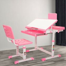Student Desk and Chair Set Height Adjustable Children School Study Desk Pink $91.99