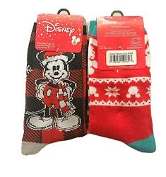 New Disney Ladies 3 Pair CHRISTMAS Socks MICKEY MOUSE 'CHILLIN' Shoe Size 4 10 $13.99