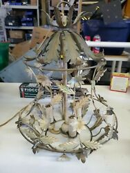 Vintage Chandelier Floral leaves metal wire 15quot; made in Italy untested lp $150.00