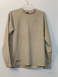 Under Armour Loose Fit Tactical MEDIUM Shirt Long Sleeve Military Sand $14.99