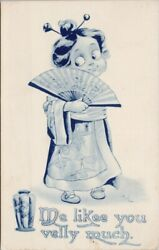 Bernhardt Wall #x27;Me Likee You Velly Much#x27; Young Asian Girl Fan Postcard G44 $11.99