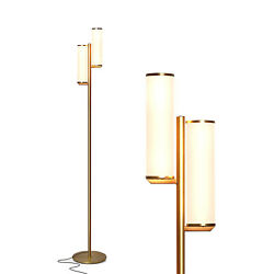 Brightech Gemini Mid Century Modern LED Light Lamp with 2 Dimmable Lights Brass