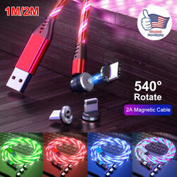540° Rotate Magnetic LED Light Up USB Phone Charger Cord For iPhone Type C Micro $10.48