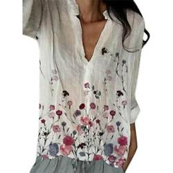 Women Boho Floral Long Sleeve T Shirt Ladies V Neck Casual Tee Shirts Top Blouse $18.42