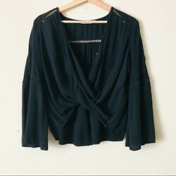 Lush SMALL black cropped flowy long sleeve Vneck draped front top blouse $14.99