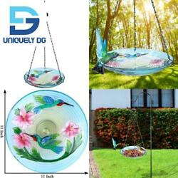 Vcuteka Bird Bath Hanging For Outdoor Glass Small Bird Feeder Bowl Garden Decora $34.03