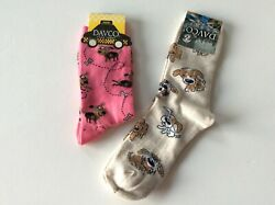 2 PAIRS WOMENS NOVELTY CREW SOCKS *DOGS * NWT * PINK TAN * FUN $11.99