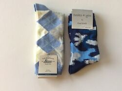 2 PAIRS WOMENS NOVELTY CREW SOCKS *ARGYLE GEOMETRIC * NWT * BLUE * FUN $11.39