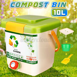 Set 10L Kitchen Food Waste Recycle Composter Aerated Compost Bin Bokashi Bucket $43.90