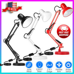 Adjustable Swing Arm Desk Lamp Table Lamp with Interchangeable Base Or Clamp $21.99