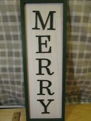 7quot;x21quot;Large Decor sign : Merry Frame Wooden Wall Art Sign Picture plaque $5.99