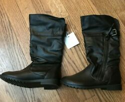 Arizona Little Girls Knee High Riding Boots Dark Brown Size 13 New With Tags $18.99