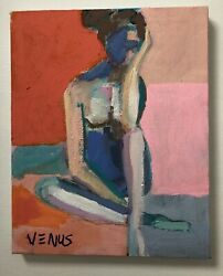 Original Painting Impressionism Oil Portrait Woman Colorful Cubist Modern Art $60.00