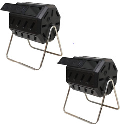 FCMP Outdoor 37 Gal Dual Chamber Tumbling Composter Bin for Soil 2 Pack $149.99