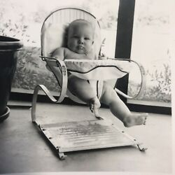 Adorable Chubby Baby Vintage Bouncer Chair Black White Picture Photograph $13.18