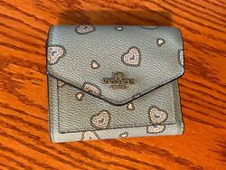 Coach Blue Polished Pebble Leather Small with All Over Heart Detail Wallet $25.00