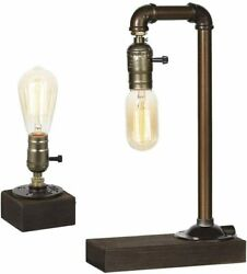 Vintage Industrial Lamp Rustic amp; Steam punk Style with Wood Base for Café Pub $16.99