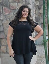 PLUS SIZE Womens SOLID BLACK LACE BOHO SWING SHIRT TUNIC TOP 1X 2X 3X USA TRUE $27.85