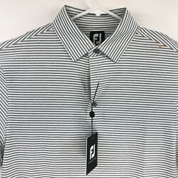Footjoy Mens Light Gray Striped Short Sleeve Golf Polo Size Medium NEW $28.98
