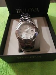 BULOVA Marine Star Mens Swiss Made Watch Silver Stainless Steel Link Band Date $129.99