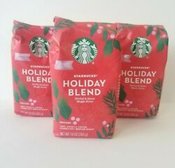 3 Starbucks Holiday Blend Coffee Grounds Medium Roast Limited Edition BB 5 2021 $32.99